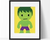 Super Hero Decor - Kid Hulk Print, Superhero Art, Boys Room, Kids Wall Art, Nursery Wall Art, Playroom Art, Instant Download, PRINTABLE 8x10