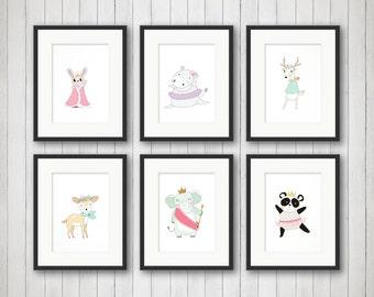 Baby Girl Nursery Art - Girly Animals - Ballerina Nursery Art Print - Animals Nursery Art - Dancer Nursery Art - Girls Room Art 4x6 5x7 8x10