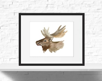 Moose Head Print - Minimal Animal Print - Woodland Animal Print - Moose Print - Moose Head - Moose Art Instant Download - PRINTABLE 10x8