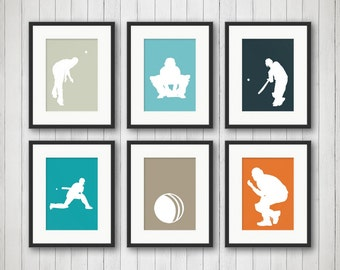 Cricket Sports Print - Cricket Print - Teen Room - Nursery Decor - Children's Room - Playroom Decor - Gameroom Decor - Boy Bedroom Art