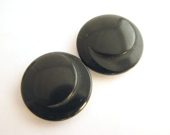2 black buttons with shanks, Carved tagua nut buttons, Old vintage vegetable ivory buttons, unused!