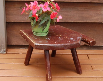 Primitive Milking Stool, Old 4 Leg Wooden Stool, Unique Wood Bench with Handle, Rustic Milking Stool, Wooden Plant Stand