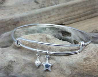Sterling Silver Star Space Cosmic Adjustable bangle