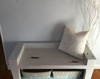 Cottage Chic Entryway Bench - Distressed - Cubby Holes - Shabby Chic - LOCAL PICKUP ONLY - Staten Island, New York