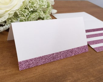 25 - Blank Pink Rose Glitter Wedding Place Cards