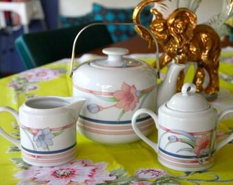 Vintage 1980's TOSCANY Collection of Japan China Teapot, Creamer and Sugar Bowl Set