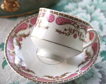 Vintage Crown Ceramics Ltd India Bone China Tea Cup and Saucer