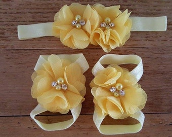 Yellow  barefoot Sandals- spring summer shoes- Newborn, toddlers,girl photoprop
