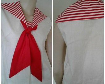 Vintage Sailor 50's Cotton Shirt/Crop Top/White~Red/Novelty Nautical Stripe Print/Size Sm/Med/Rockabilly Pinup Girl/60s Mad Men/USA