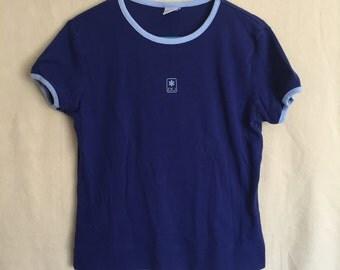 SALE!! 1990s Calvin Klein Blue Ringer Tee Women's Size L