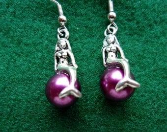 Purple Pearl Mermaid Earrings