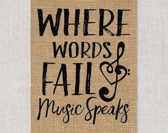 Music Speaks - Burlap or Canvas Paper Wall Art : A Burlap or Canvas Paper Printed Wall art Print for Musicians & Music Lovers