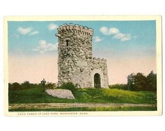 Worcester Massachusetts vintage postcard   Davis Tower, Lake Park, Lake Quinsigamond   1920s antique MA travel souvenir, hometown decor
