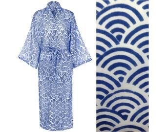 100% Organic Light Cotton Kimono Robe - Hand Printed Cotton Dressing Gown for Women - Blue Cotton Gown - All Cotton Bathrobe - Long Robe