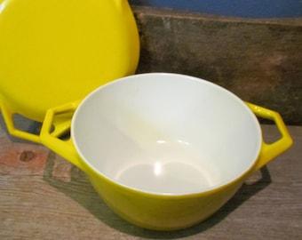 Vintage 1960's COPCO Danish Modern Yellow Enamel 1 Quart Pot With Lid