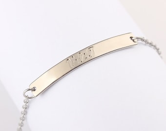 Personalized Silver Name Bar Bracelet, Anniversary Gift Idea for Her, Bridesmaids Bar Bracelet,  Gift Jewelry