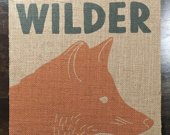11x11 Personalized Woodland Name Burlap Fabric Print
