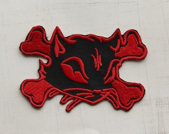 8.5 x 5.5cm, Red Cool Emily Cat Iron On Patch (P-146)