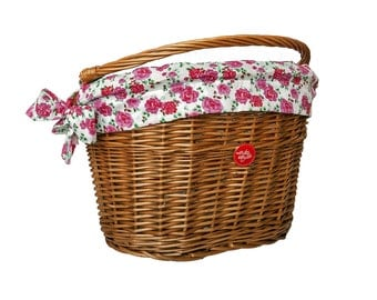 Classic Wicker Bike Basket with liner Retro Roses, Bike Belle