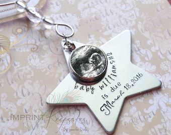SALE PRICE Ultrasound Christmas Ornament - Hand Stamped - Keepsake - Pregnancy Announcement - First Christmas - Personalized - Baby Picture