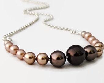 Bridesmaid pearl necklace Ombré bridesmaid necklace Graduated pearl necklace Bridal party gifts Ombré pearl necklace Simple pearl jewelry