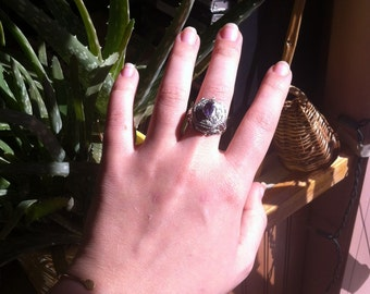 Amethyst poison ring. Size 9.