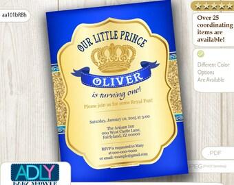 Royal Blue Prince Birthday Invitation. Gold Crown, royal birthday for Little Prince. Gold Glitter, first, second, third birthday - aa101bRBh