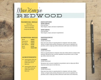 resume template the redwood resume cv template word and pages resume template - Modern Resume Template Word