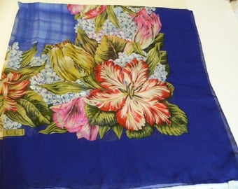 Gucci Silk Scarf Royal Blue Border with Floral Design 42 Inches