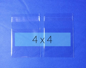 200 Clear Poly Cello Bag 4x4 inch Self Sealable OPP Product Bag Acid Free Clear Pastic Packaging