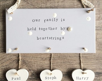 Personalised family plaque with hanging hearts. Shabby chic polka dots