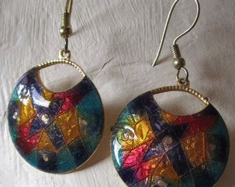 "vintage goldtone dangling round 1""enamel earrings 2""drop beautiful colours of enamel"
