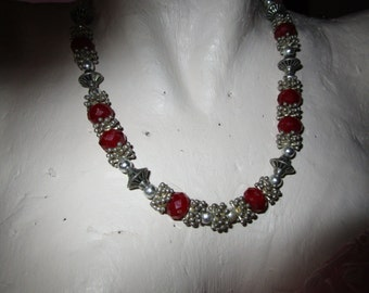 "vintage bead 18""necklace silvertone/red stone beads at front extends 2.5""back beads had been painted but look great"