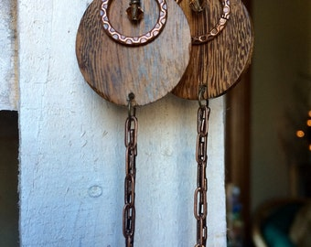 Robles Wood // Antique Copper Earrings