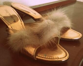 Vintage 50's gold mink fur Coquettes Kitten Heel peep toe Slide shoes  Burlesque Pinup