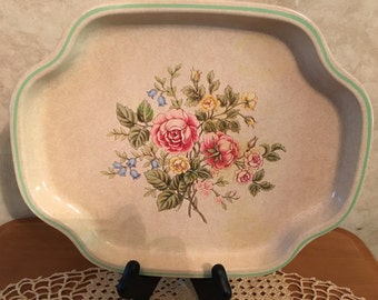 1980's Avon made in England Metal Flower Tray