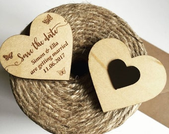 Butterfly Wooden Save The Date Heart Magnet