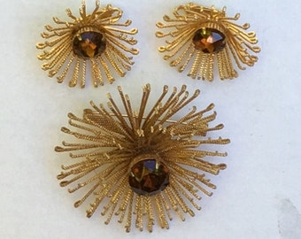 Sarah Coventry Brooch and Earrings -- Chrysanthemum, Signed, Gold and Topaz, Autumn,