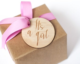 It's a girl gift tag! Baby shower. Baby girl. Plywood laser cut gift tag.