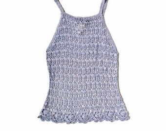 90's BISOU BISOU Crochet Open Knit Top