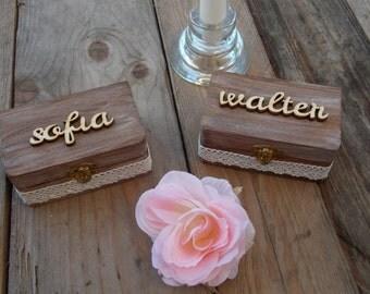 Individualized Ring Bearer Box SET Names - Wedding/Ring Bearer Box/Ring Pillow
