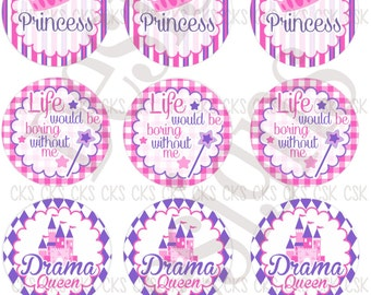 "1"" Digital Bottle Cap Sheet **INSTANT DOWNLOAD** Drama Queen Princess"