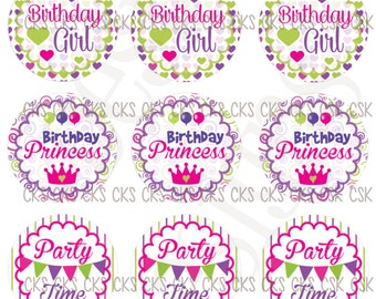 "1"" Digital Bottle Cap Sheet **INSTANT DOWNLOAD** Birthday Girl"