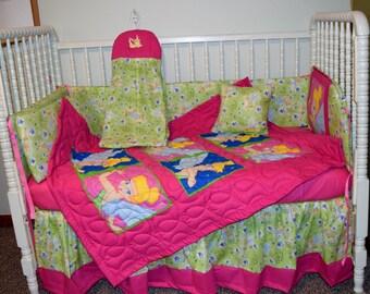 New Crib Nursery Bedding Set m/w Tinkerbell Faces Fabric