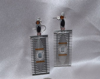 Computer Chip Component Sci Fi Earrings