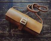 Handmade Veg tanned Leather Cylinder crossbody bag