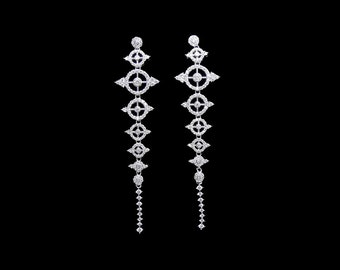 Long statement earrings, statement bridal earrings, luxury bridal earrings, diamond bridal jewelry, long earrings