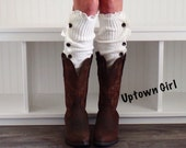 Women's Button Down Ivory Legwarmers, Ivory  Button Boot Topper, Cable Knit Boot Cuff, Ivory Leg Warmers, Button Down Leg Warmers