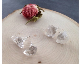 Quartz Crystal Stud Earrings