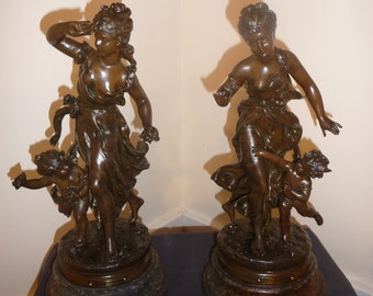 Antique pair of French neoclassical spelter statues with cherub by Hippolyte Moreau - circa 1900